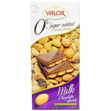Valor, Milk Chocolate with Almonds, 0% Sugar Added, 5.3 oz(pack of 12)