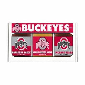 Hot Sauce Harrys 5323 Ohio State Buckeyes NCAA Triple Play Gift Set - 16 oz BBQ Sauce, 16 oz Picante Salsa, 16 oz Cheeze Dip