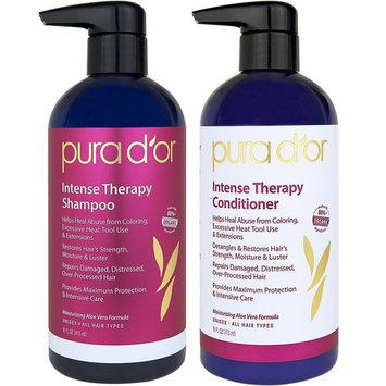 PURA D'OR Intense Therapy Hair Repair 2-Piece Shampoo & Conditioner Set for Damaged, Distressed, Over-Processed Hair, Infused with Natural & Organic Ingredients for All Hair Types, Men and Women [2-Piece System]
