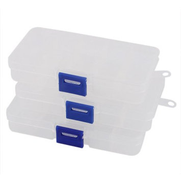 3 Pcs Clear Empty Storage Case Box 10 Cells for Nail Art Tips Gems