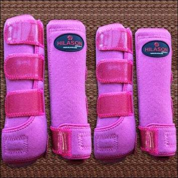 MEDIUM HILASON GLITTER PINK HORSE FRONT REAR LEG PROTECTION SPORTS BOOTS 4 PACK