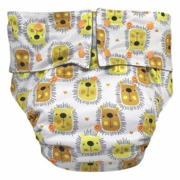 EcoAble Teen & Adult Incontinence Cloth Diaper with Charcoal Bamboo Insert Pad, One Size (Lions)