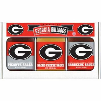 Hot Sauce Harrys 5307 Georgia Bulldogs NCAA Triple Play Gift Set - 16 oz BBQ Sauce, 16 oz Picante Salsa, 16 oz Cheeze Dip