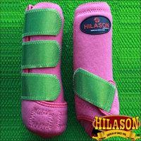 MEDIUM HILASON GLITTER GREEN HORSE REAR LEG PROTECTION ULTIMATE SPORTS BOOT PAIR