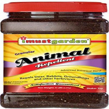 I Must Garden Granular Animal Repellent - 5lb Shaker Jar (Deer, Rabbit, Groundhog, and other Herbivores)