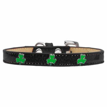 Shamrock Widget Dog Collar Black Ice Cream Size 10