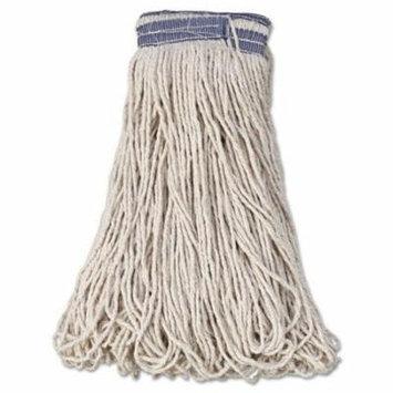 Rubbermaid Commercial Universal Headband Mop Heads, Cotton, White, 32 oz, 1-in. Blue Headband - 12 wet mop heads per case.