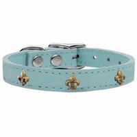 Bronze Fleur De Lis Widget Genuine Leather Dog Collar Baby Blue 18