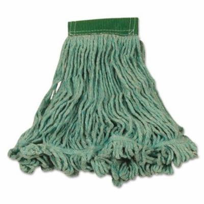 Rubbermaid Commercial Super Stitch Blend Mop Heads, Cotton/Synthetic, Green, Medium - six wet mop heads per case.