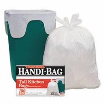 WEBSTER INDUSTRIES HAB6FK100 Super Value Pack Trash Bags, 13gal, .6mil, 23 3/4 x 28, White, 100/Box