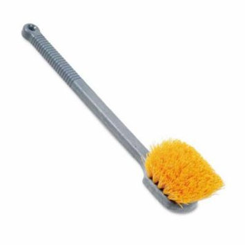 Rubbermaid Commercial Pot Scrubber Brush, 20 Long Plastic Handle, Gray Handle w/Yellow Bristles - one utility brush.