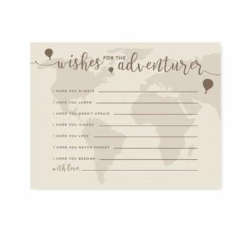 Hot Air Balloon World Map, Vintage Tan Brown, Wishes for the Adventurer Cards, 20-Pack, Games Activities