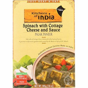 Kitchen Of India Dinner - Spinach with Cottage Cheese and Sauce - Palak Paneer - 10 oz - case of 6 -