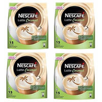 4 PACK NESCAFÉ Latte Coconut Instant Coffee Powder - 15 sachets x 30gm – Rich Delicious Aromatic Creamy Non-Bitter PreMix Coffee with Coconut flavor – GET IN ONE WEEK – FREE EXPRESS SHIPPING