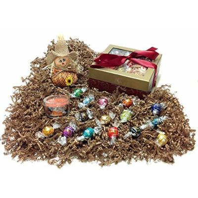 Autumn Gift Box - Lindt Lindor Gourmet Chocolate Truffles, Candle & Beanbag Scarecrow (O)