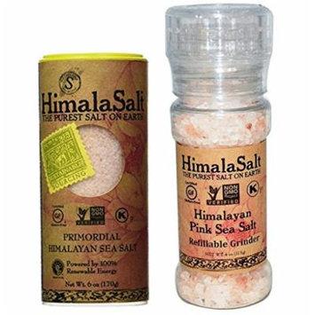 HimalaSalt Non-GMO Pink Himalayan Sea Salt Shaker and Refillable Grinder Bundle