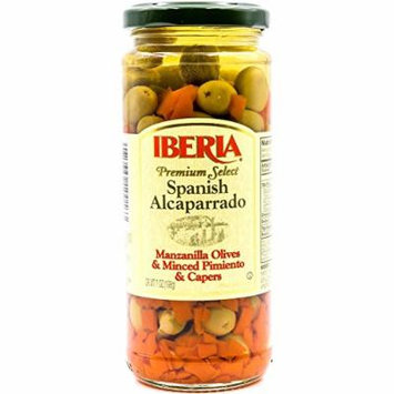 Iberia Premium Select Spanish Alcaparrado Manzanilla Olives, Olives with Minced Pimientos and Capers, 7 oz