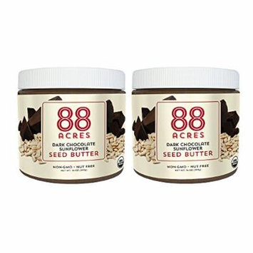 88 Acres, Organic Dark Chocolate Sunflower Seed Butter, 14 Ounce, 2 Pack