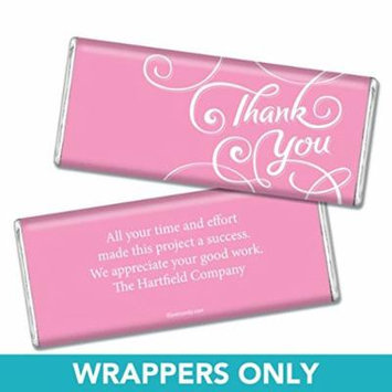 Thank You Personalized Chocolate Bar Wrappers - Scroll (25 Wrappers) Pink