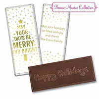 Personalized Bonnie Marcus Christmas Glittery Gold Embossed Happy Holidays Chocolate Bar - Fully Assembled (12 Count)