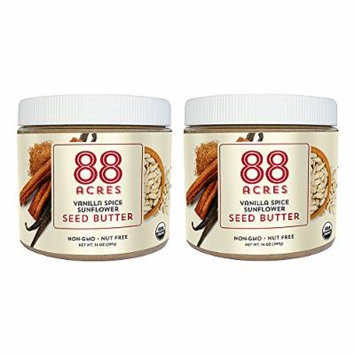 88 Acres, Organic Vanilla Spice Sunflower Seed Butter, 14 Ounce, 2 Pack