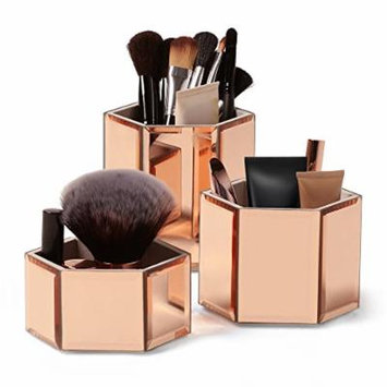 Beautify Rose Gold Hexagon Storage Pots for Makeup Cosmetics, Brushes, Jewelry and Accessories Set of 3 with Glass Cleaning Cloth