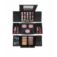 Cameo Deluxe Reusable Black Jewelry Box Eye, Lip and Face Makeup Set with Removable Drawers