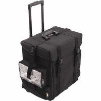 Sunrise La Croce Soft Sided Rolling Makeup Case Professional Nail Travel Wheel Organizer, Black Canvas, 15 Pound