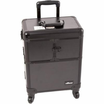 Sunrise C6304 3-Tiers Accordion Trays Professional Rolling Aluminum Cosmetic Makeup Case, Black Matte, 16 Pound