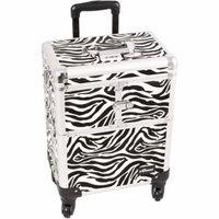 Sunrise Le Sechere Heavy Duty Rolling Makeup Case Professional Nail Travel Organizer Box, Zebra, 16 Pound