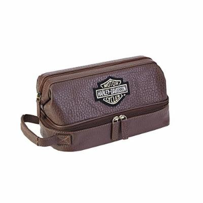 Harley Davidson Men's Deluxe Over/Under Toiletry Kit, Brown