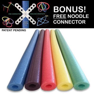 Oodles Of Noodles Famous Foam Pool Noodles - 5 PACK Random Colors FREE Connector