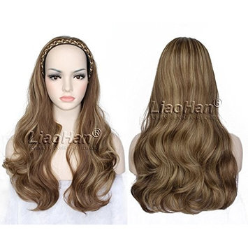 Fashion Brown Wig Fall with Beige Highlights Half Head Wig 3/4 Weave Natural Layered Wig Hairpiece