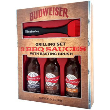 Budweiser 3 BBQ Sauces with Basting Brush Grilling Set, 4 pc