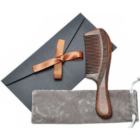 Wood Comb,Wooden hair comb,100% Natural Sucupira Comb-Anti Static(Fine Tooth-7.6 Inch)