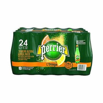 PERRIER L'Orange Flavored Sparkling Mineral Water (Lemon Orange Flavor), 16.9-Ounce Plastic Bottles Count 24 - Pack of 4