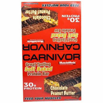 MuscleMeds, Carnivor, Chocolate Peanut Butter, Protein Bars, 12 Protein Bars, 3.2 oz (91 g) Each(pack of 1)