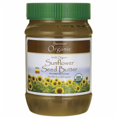 Swanson 100% Organic Sunflower Seed Butter 16 oz (1 lb) (454 g) Solid Oil