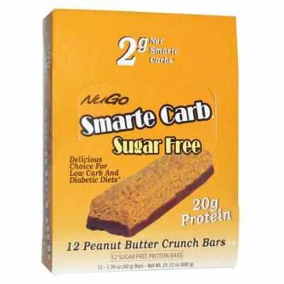 NuGo Nutrition, Smarte Carb Sugar Free, Peanut Butter Crunch Bars, 12 -1.76 oz (50 g) Bars(pack of 4)