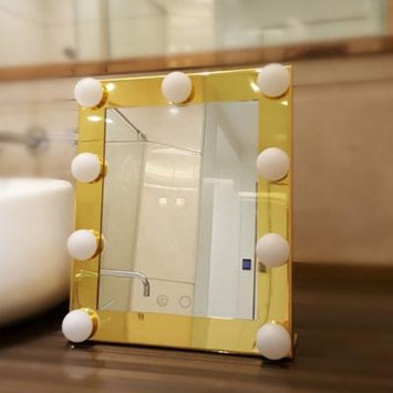Makeup Mirror Portable Touch Screen 9 LEDs Bulb Lighted Tabletop Beauty Makeup Bath Mirror