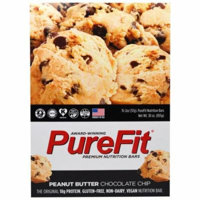 Pure Fit Bars, Premium Nutrition Bars, Peanut Butter Chocolate Chip, 15 Bars, 2 oz (57 g) Each(pack of 1)