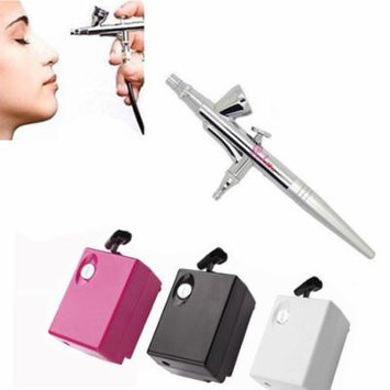 Pinkiou Airbrush Makeup Kit Single Action Aerograph Set with Compressor Air Brush Paint for Face Paint 0.4mm Needle Nail Body Paint SP16 (white)