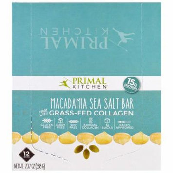 Primal Kitchen, Macadamia Sea Salt, Grass-Fed Collagen, 12 Bars, 1.7 oz (49 g) Each(pack of 1)