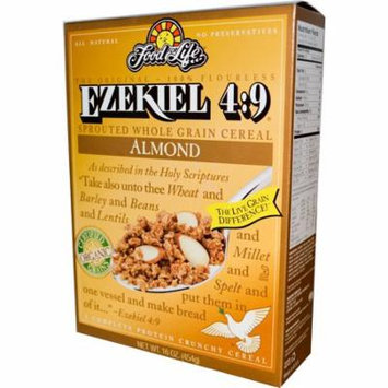 Food For Life, Ezekiel 4:9, Sprouted Whole Grain Cereal, Almond, 16 oz (pack of 4)