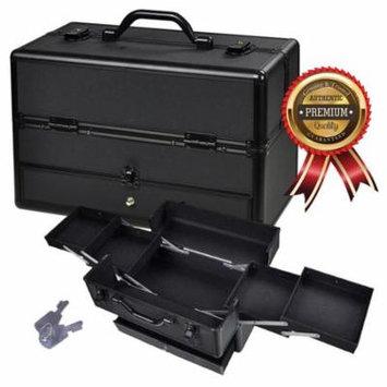 Koval Inc. Makeup Train Case, Large Aluminum Cosmetics Makeup Organizer Storage Train Case w/ Key Lock & Drawer (Make-up Organizer w/ Drawer)