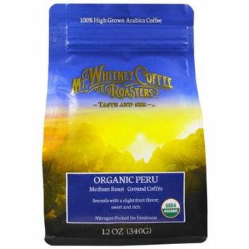 Mt. Whitney Coffee Roasters, Organic Peru, Medium Roast Ground Coffee, 12 oz (pack of 6)