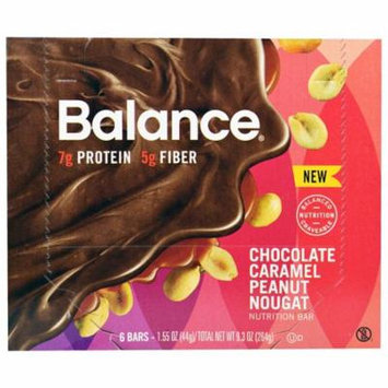 Balance Bar, Nutrition Bar, Chocolate Caramel Peanut Nougat, 6 Bars, 1.55 oz (44 g) Each(pack of 1)