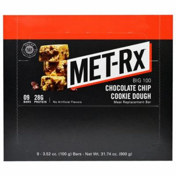 MET-Rx, Big 100, Meal Replacement Bar, Chocolate Chip Cookie Dough, 9 Bars, 3.52 oz (100 g) Each(pack of 1)