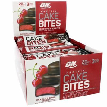 Optimum Nutrition, Protein Cake Bites, Chocolate Dipped Cherry Flavor, 12 Bars, 2.22 oz (63 g) Each(pack of 1)