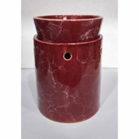 Burgundy Marble Decorative Ceramic Tart Warmer - Set of Dish and Burner - Electric Candle and Oil Warmer - Works as Diffuser for Oils and Fragrances - Easy Plug in Feature